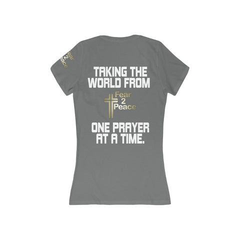 One Prayer At A Time - Women's Deep V-Neck Jersey Tee
