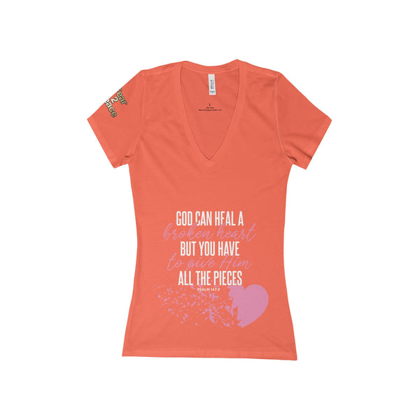God Can Heal a Broken Heart Women's Deep V-Neck Jersey Tee