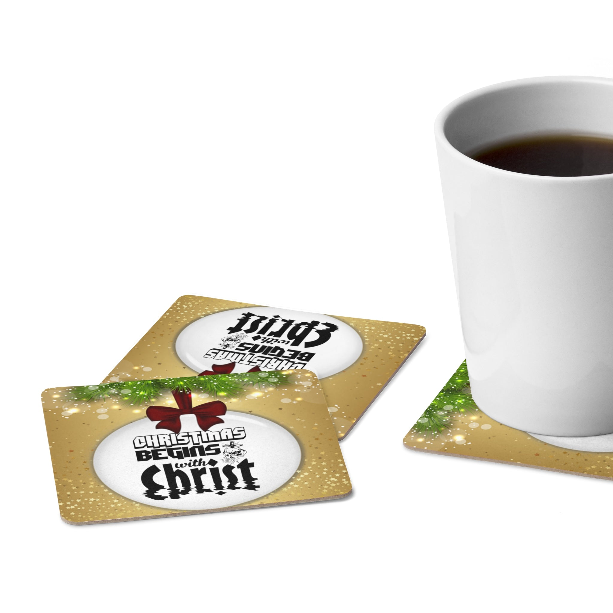 Christmas Begins With Christ Square Paper Coaster Set - 6pcs