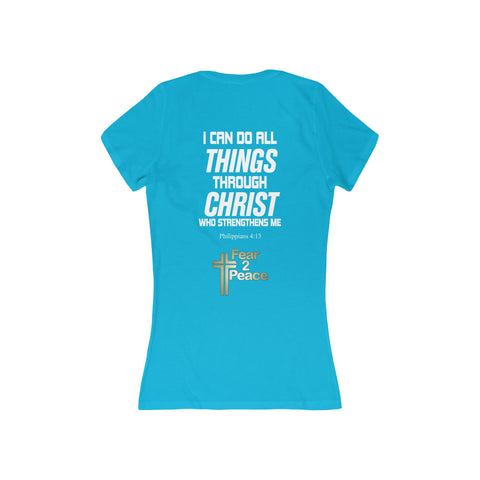 I Can Do All Things Through Christ - Women's Deep V-Neck Jersey Tee