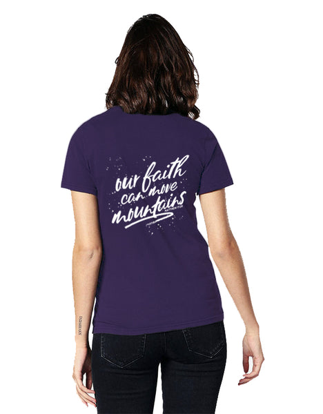 Our Faith Can Move Mountains Women's Deep V-Neck Jersey Tee
