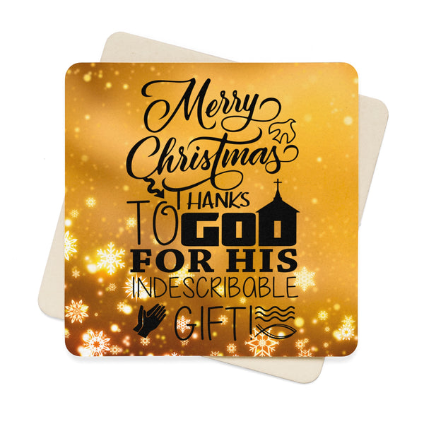 Merry Christmas Thanks To God Square Paper Coaster Set - 6pcs