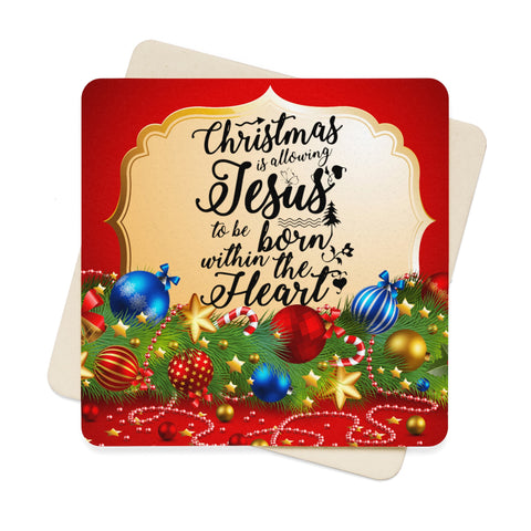 Christmas Is Allowing Jesus Square Paper Coaster Set - 6pcs