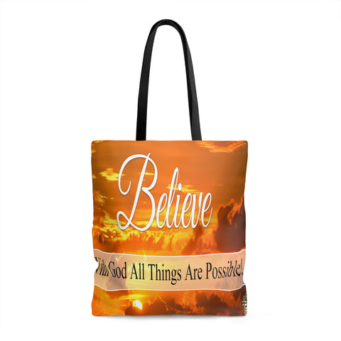 Believe With God All Things Are Possible - Printed Tote Bag