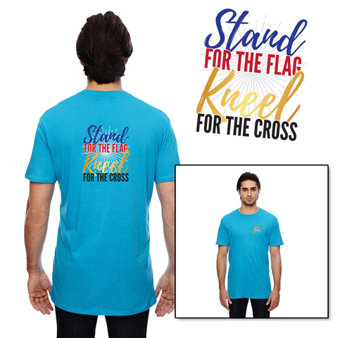 Stand For The Flag, Kneel For The Cross - Men's Round Neck T-Shirt