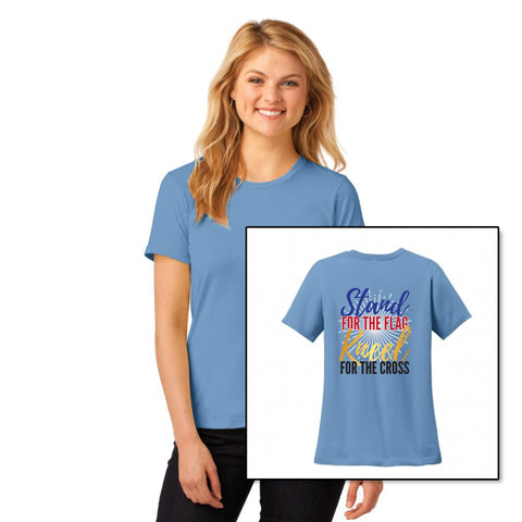 Stand For The Flag, Kneel For The Cross - Women's Round Neck T Shirt