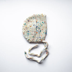 Crochet Bonnet - Ellis (Rainbow Speck)