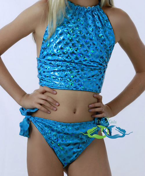 Matching True Sea Blue Scale Tankini SWIMSUIT (Child/Teen)