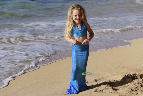 blue swimmable mermaid tails for toddlers