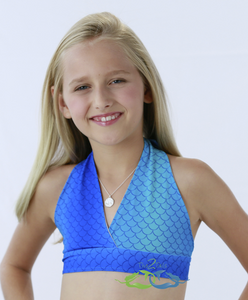 Sea blue swimmable mermaid tail swim top for kids