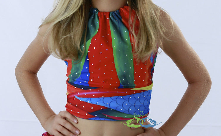 Sea Water Rainbow Mermaid Swim Top