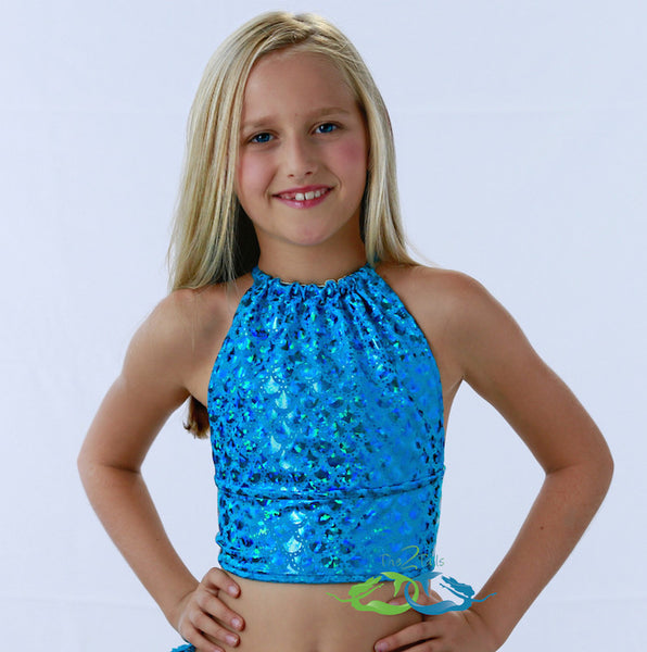Matching True Sea Blue Scale Tankini TOP (Child/Teen)