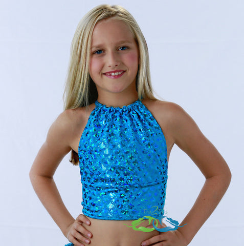 True Sea Blue Scale<p>Mermaid Swim Top<p/><a/>