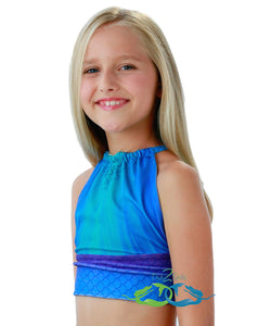 Catalina sea blue swimmable mermaid tail sport swim top for teens