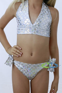 Matching True White Sand Scale Triangle SWIMSUIT (Child/Teen)