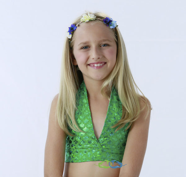Matching True Sea Green Scale Triangle TOP (Child/Teen)
