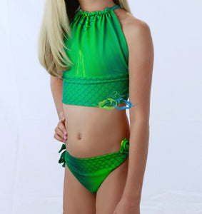 Catalina sea green swimmable mermaid tail matching swimsuit for kids