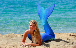 best teen swimmable  mermaid tails in Catalina aqua blue sparkle