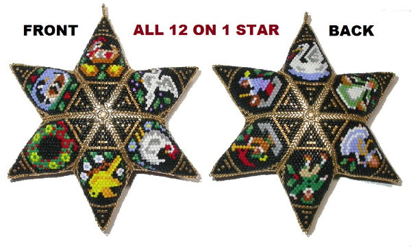 All 12 on 1 Six Point Star: Twelve Days Of Christmas Peyote Star