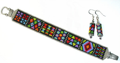 Amish Brights Bracelet & Earrings Peyote pattern