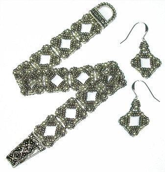 B12AG Marcasite Square Bracelet & Earrings