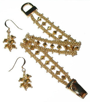 B12JL Bicone Peyote Ladder Bracelet & Earrings
