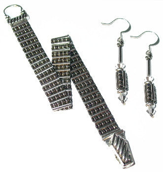 B13AP  Bugle Ladder Bracelet & Earrings
