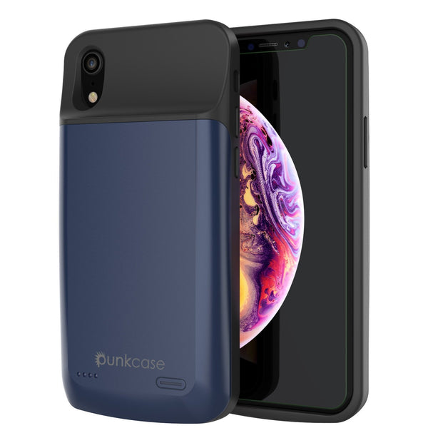 iPhone 11 Pro Battery Case, PunkJuice 5000mAH Fast Charging Power Bank W/ Screen Protector | [Blue]