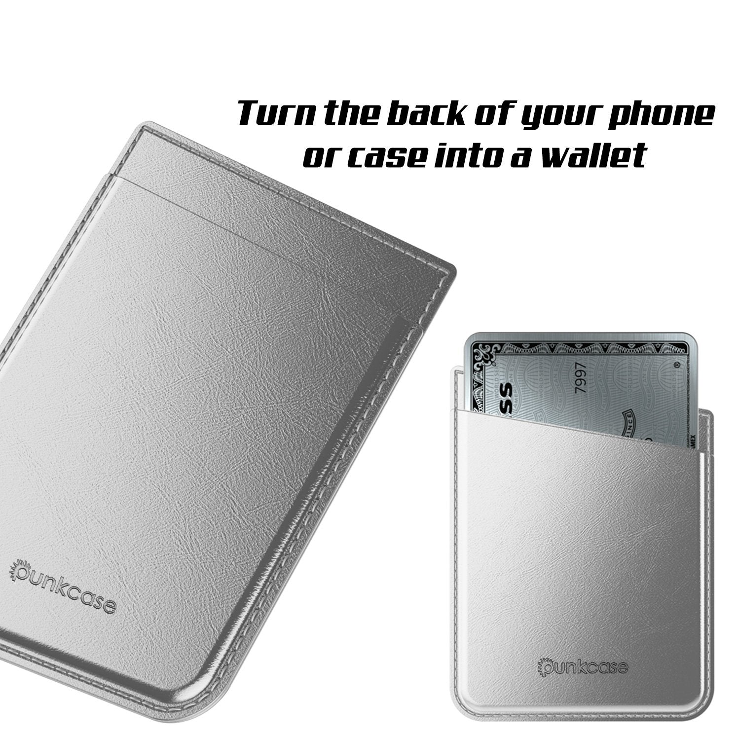 PunkCase CardStud Deluxe Stick On Wallet | Adhesive Card Holder Attachment for Back of iPhone, Android & More | Leather Pouch | [Silver]