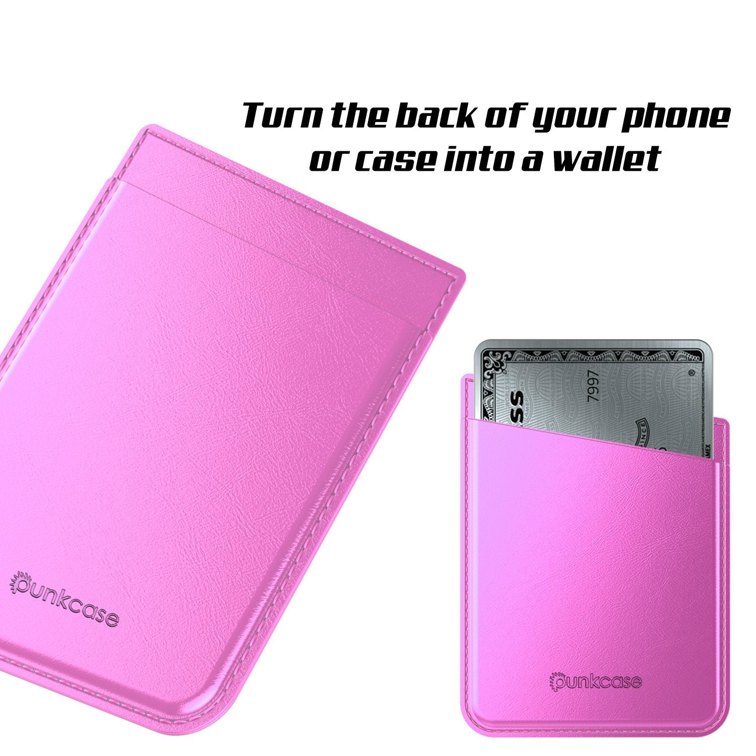 PunkCase CardStud Deluxe Stick On Wallet | Adhesive Card Holder Attachment for Back of iPhone, Android & More | Leather Pouch | [Pink]