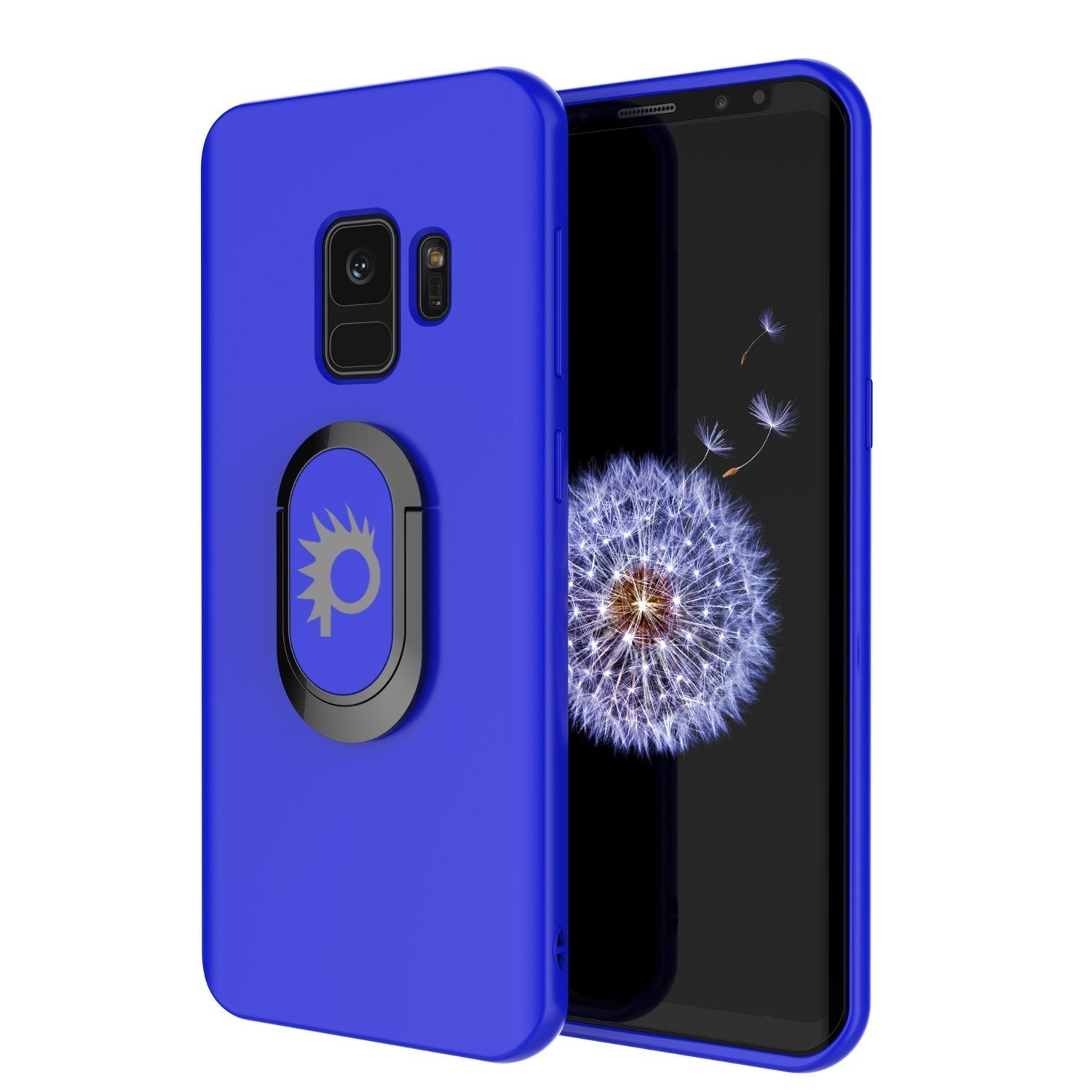 Galaxy S9 Case, Punkcase Magnetix Protective TPU Cover W/ Kickstand, Ring Grip Holder & Metal Plate for Magnetic Car Phone Mount PLUS PunkShield Screen Protector for Samsung S9 Edge [Blue]