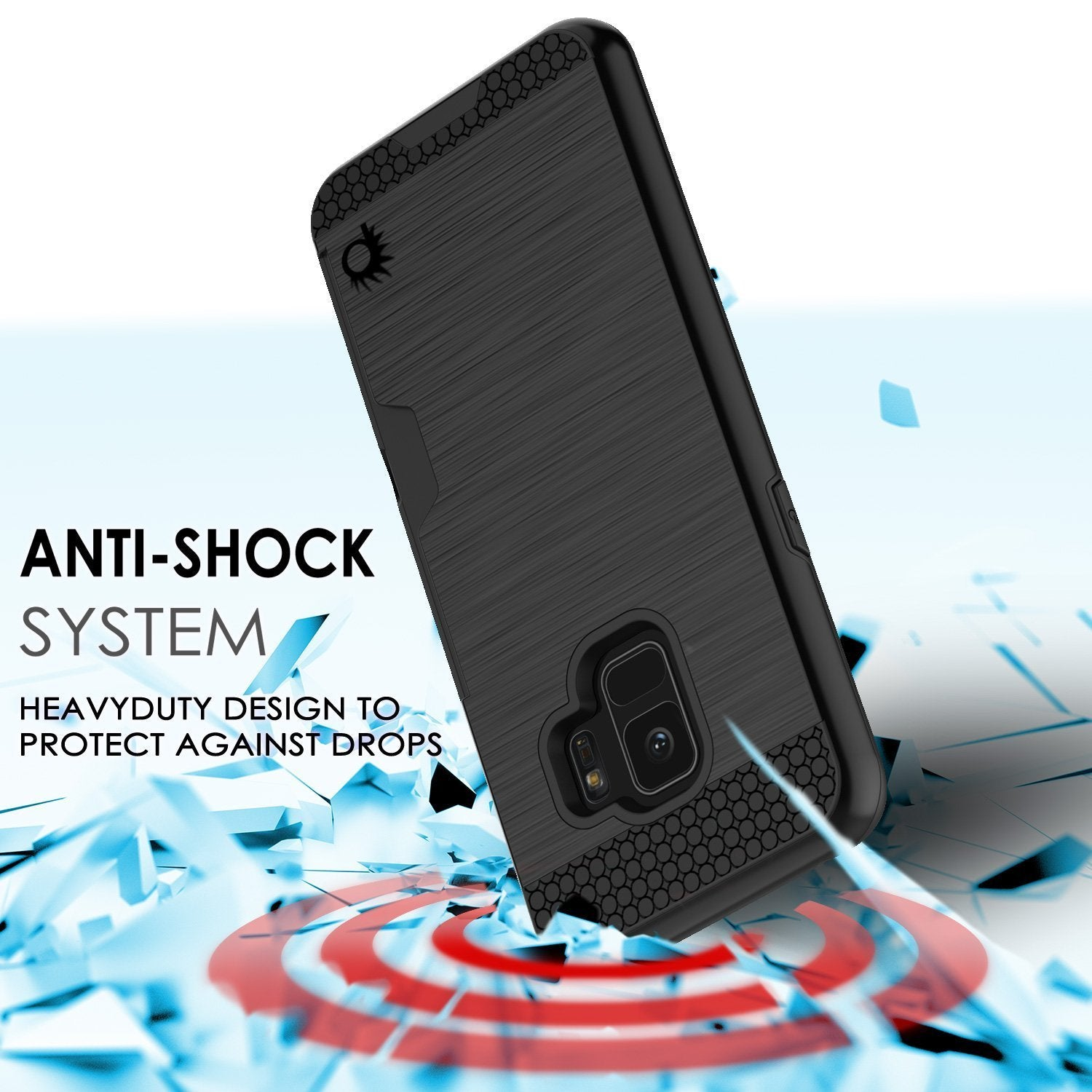 Galaxy S9 Case, PUNKcase [SLOT Series] [Slim Fit] Dual-Layer Armor Cover w/Integrated Anti-Shock System, Credit Card Slot [Black]