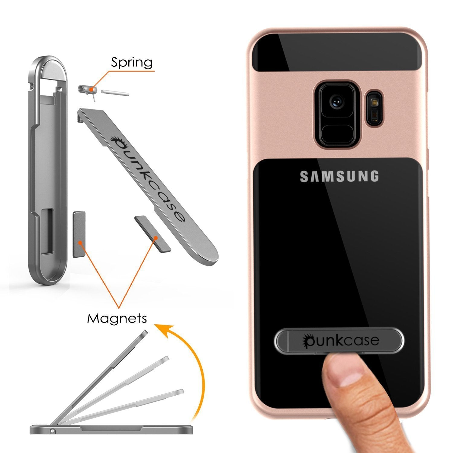 Galaxy S9 Case, PUNKcase [LUCID 3.0 Series] [Slim Fit] [Clear Back] Armor Cover w/ Integrated Kickstand, Anti-Shock System & PUNKSHIELD Screen Protector for Samsung Galaxy S9 [Rose Gold]