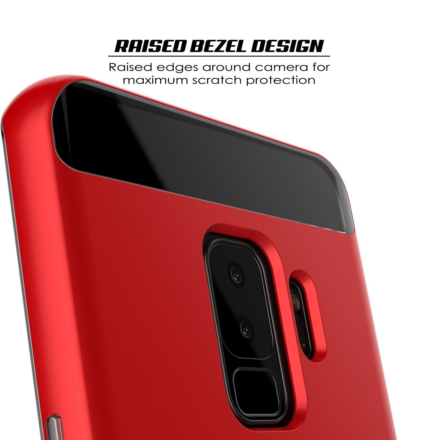 Galaxy S9+ Plus Case, PUNKcase [LUCID 3.0 Series] [Slim Fit] [Clear Back] Armor Cover w/ Integrated Kickstand, Anti-Shock System & PUNKSHIELD Screen Protector for Samsung Galaxy S9+ Plus [Red]