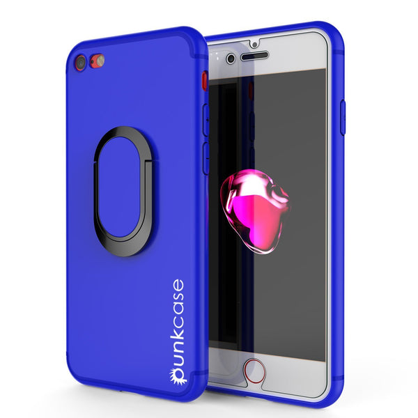 iPhone 8 Case, Punkcase Magnetix Protective TPU Cover W/ Kickstand, PLUS Tempered Glass Screen Protector [Blue]