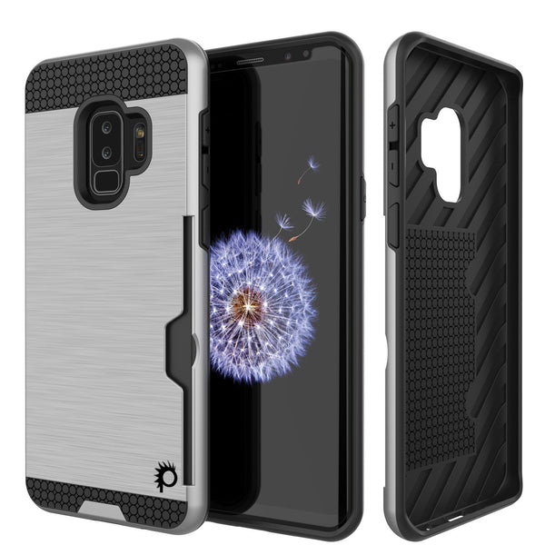 Galaxy S9 Plus Case, PUNKcase [SLOT Series] [Slim Fit] Dual-Layer Armor Cover w/Integrated Anti-Shock System, Credit Card Slot [Silver]