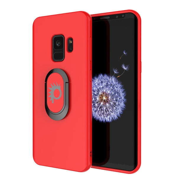 Galaxy S9 Case, Punkcase Magnetix Protective TPU Cover W/ Kickstand, Ring Grip Holder & Metal Plate for Magnetic Car Phone Mount PLUS PunkShield Screen Protector for Samsung S9 Edge [Red]