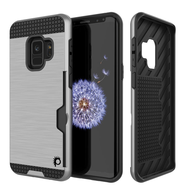 Galaxy S9 Case, PUNKcase [SLOT Series] [Slim Fit] Dual-Layer Armor Cover w/Integrated Anti-Shock System, Credit Card Slot [Silver]