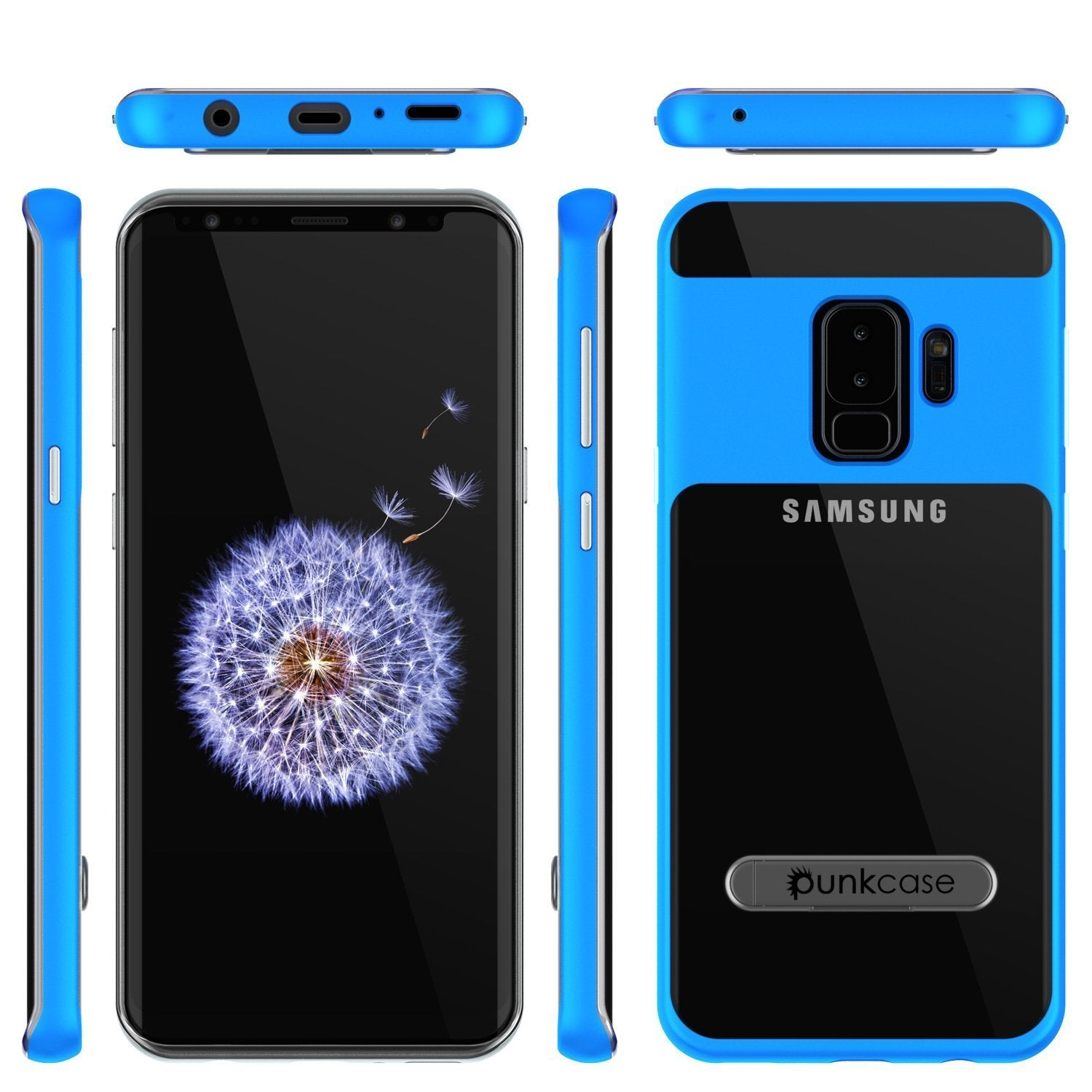 Galaxy S9+ Plus Case, PUNKcase [LUCID 3.0 Series] [Slim Fit] [Clear Back] Armor Cover w/ Integrated Kickstand, Anti-Shock System & PUNKSHIELD Screen Protector for Samsung Galaxy S9+ Plus [Blue]