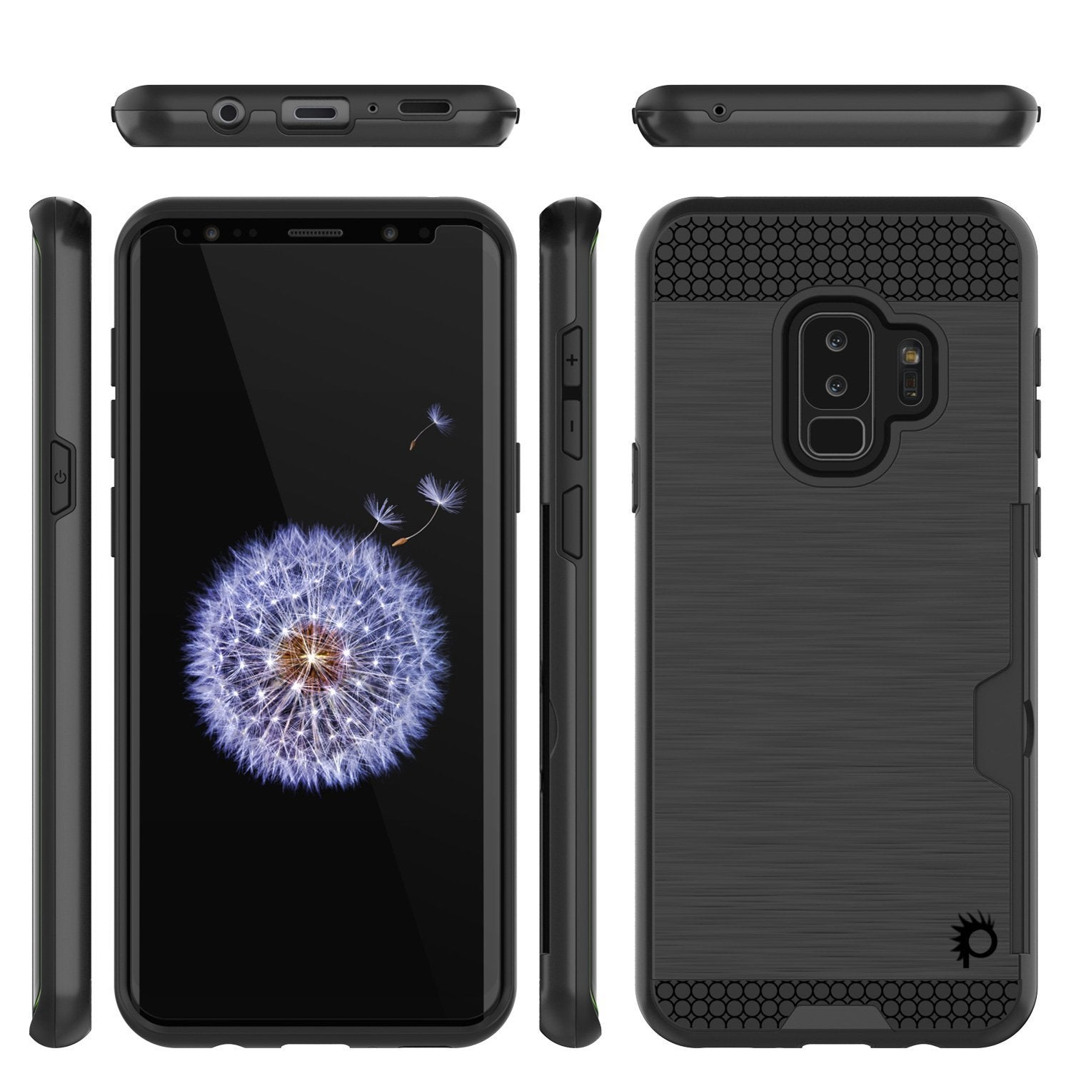 Galaxy S9 Plus Case, PUNKcase [SLOT Series] [Slim Fit] Dual-Layer Armor Cover w/Integrated Anti-Shock System, Credit Card Slot [Black]