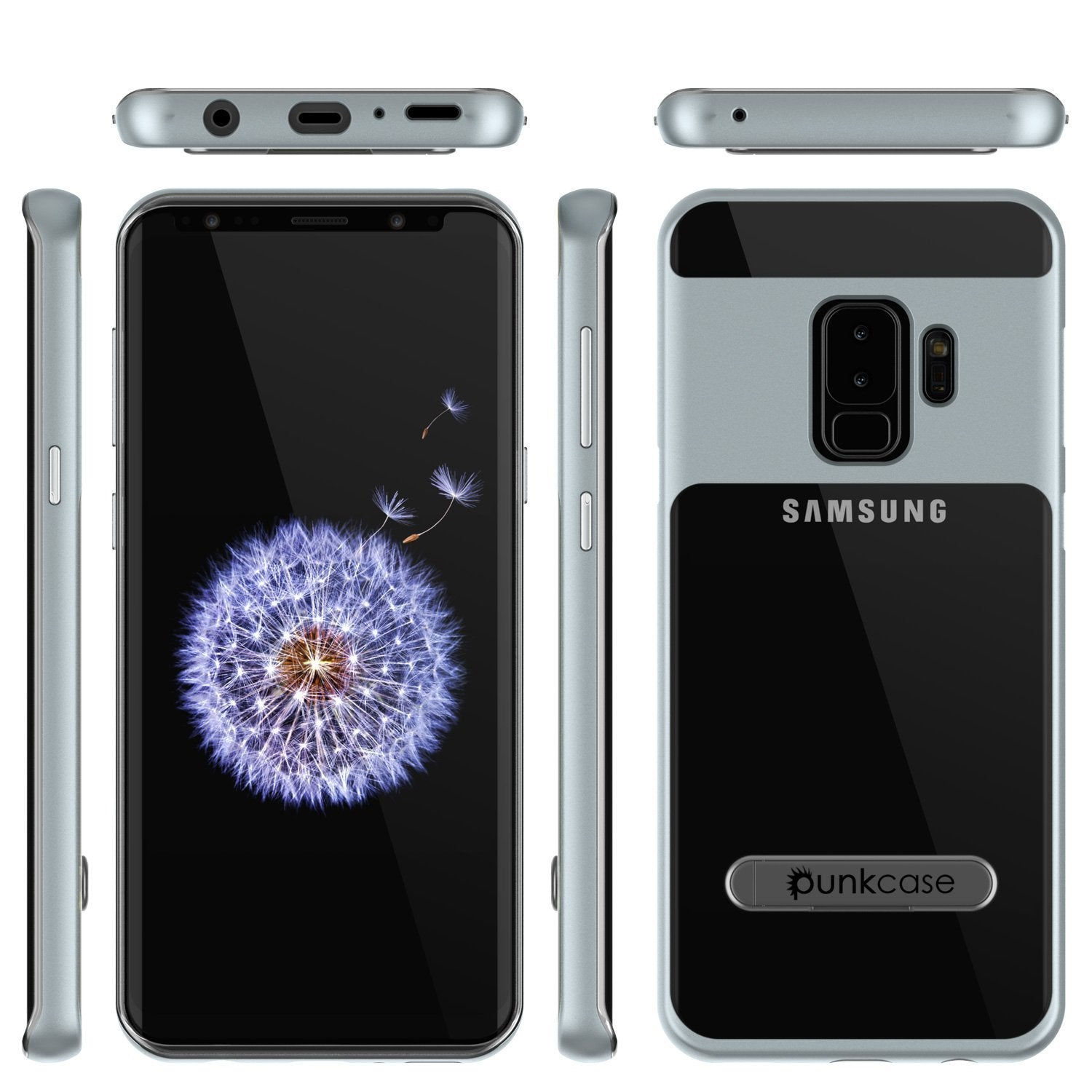 Galaxy S9+ Plus Case, PUNKcase [LUCID 3.0 Series] [Slim Fit] [Clear Back] Armor Cover w/ Integrated Kickstand, Anti-Shock System & PUNKSHIELD Screen Protector for Samsung Galaxy S9+ Plus [Silver]