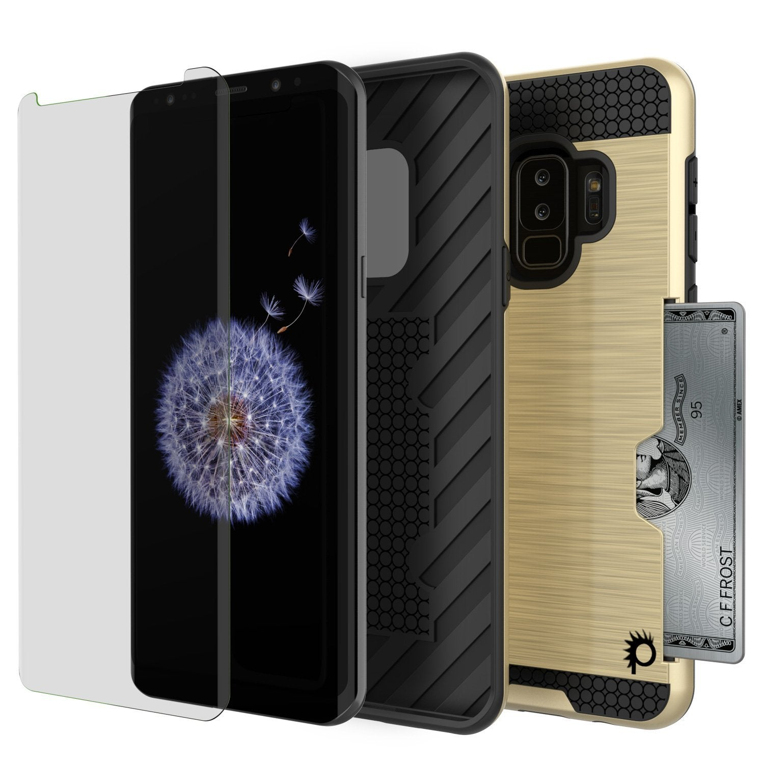 Galaxy S9 Plus Case, PUNKcase [SLOT Series] [Slim Fit] Dual-Layer Armor Cover w/Integrated Anti-Shock System [Gold]