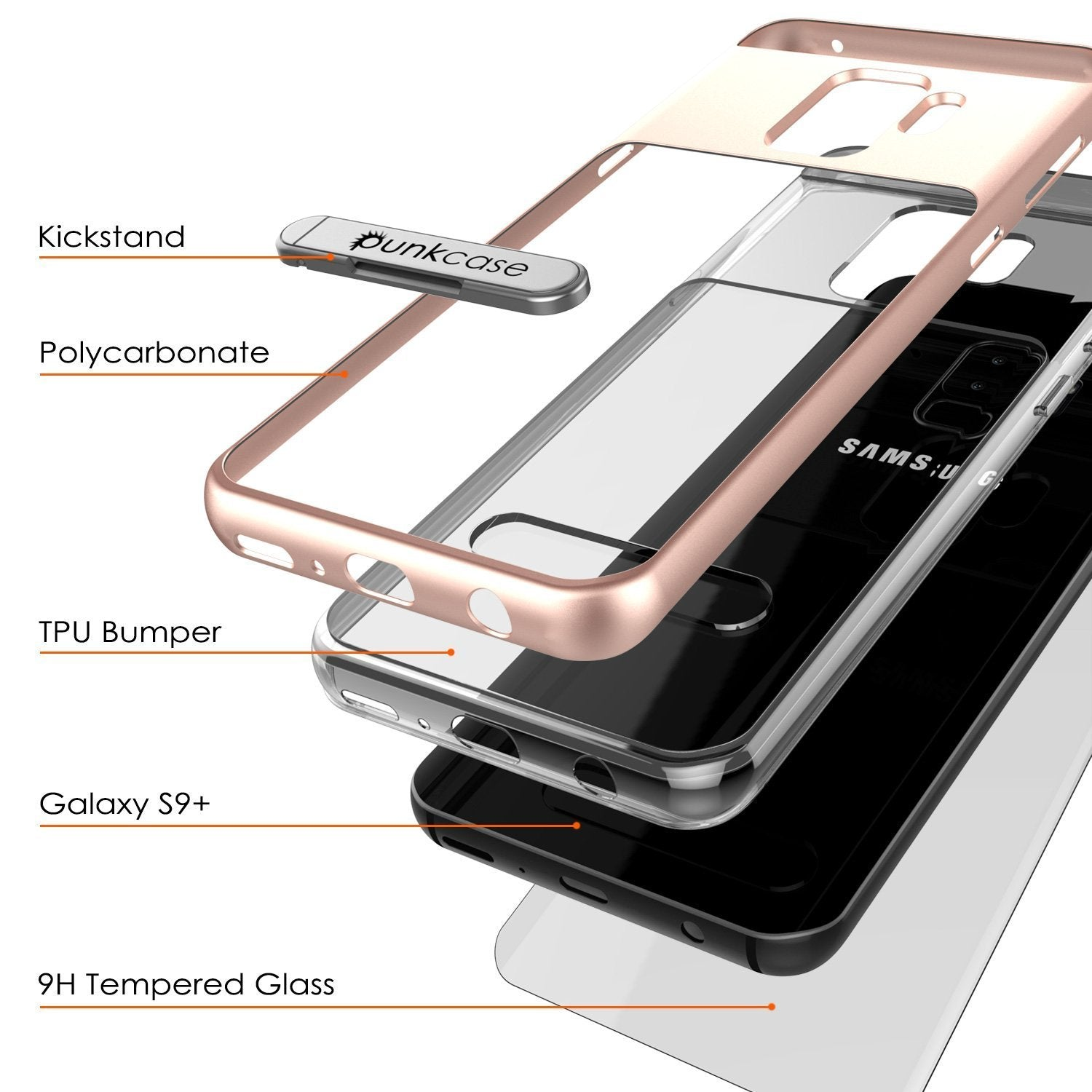 Galaxy S9+ Plus Case, PUNKcase [LUCID 3.0 Series] [Slim Fit] [Clear Back] Armor Cover w/ Integrated Kickstand, Anti-Shock System & PUNKSHIELD Screen Protector for Samsung Galaxy S9+ Plus [Rose Gold]