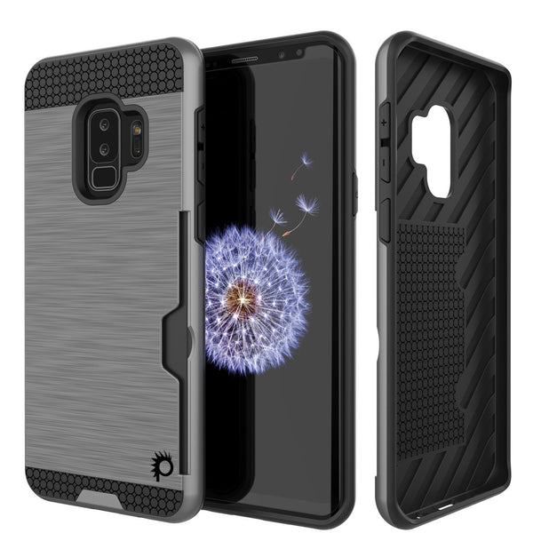 Galaxy S9 Plus Case, PUNKcase [SLOT Series] [Slim Fit] Dual-Layer Armor Cover w/Integrated Anti-Shock System [Grey]