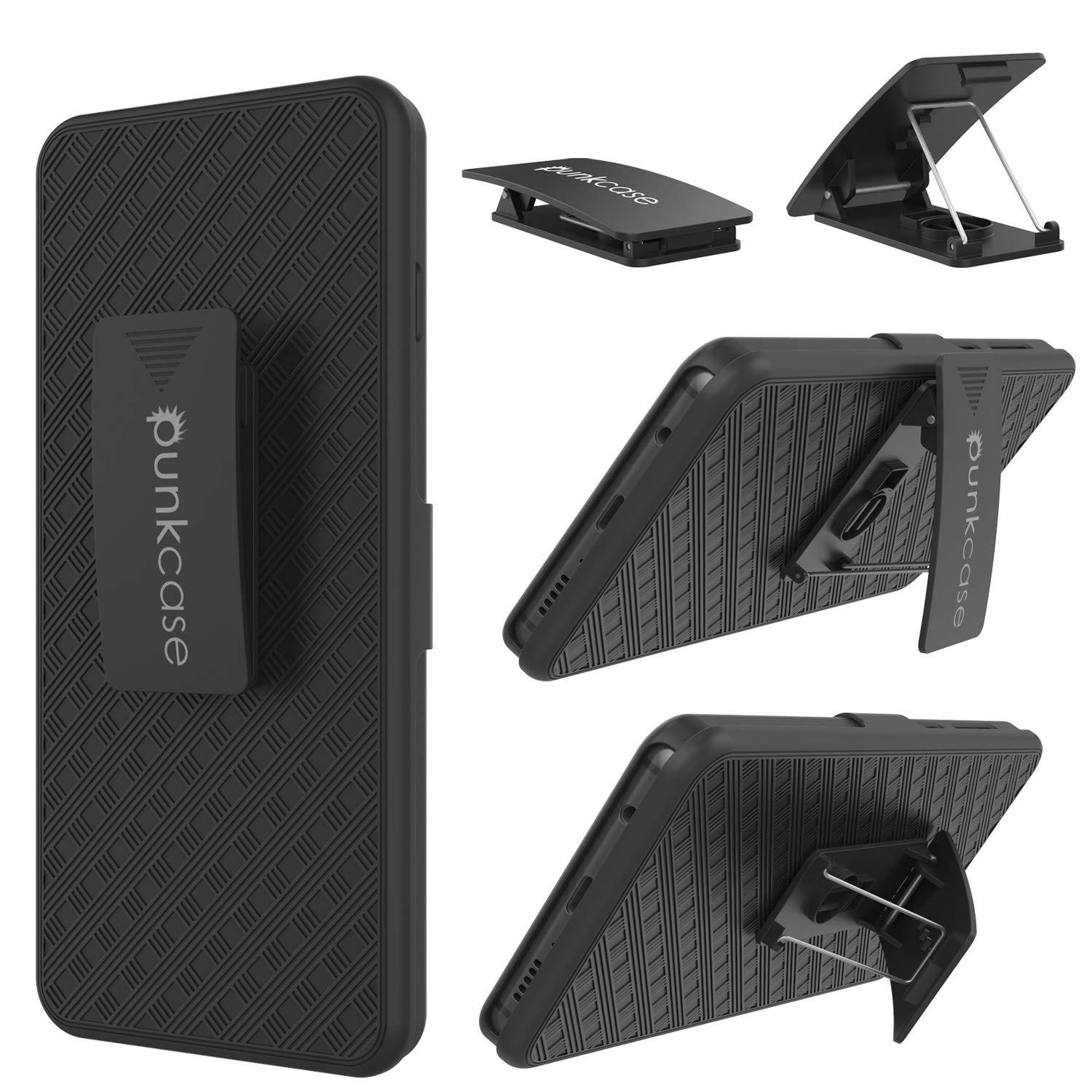 Punkcase Galaxy S10 5G Case With Screen Protector, Holster Belt Clip [Black]