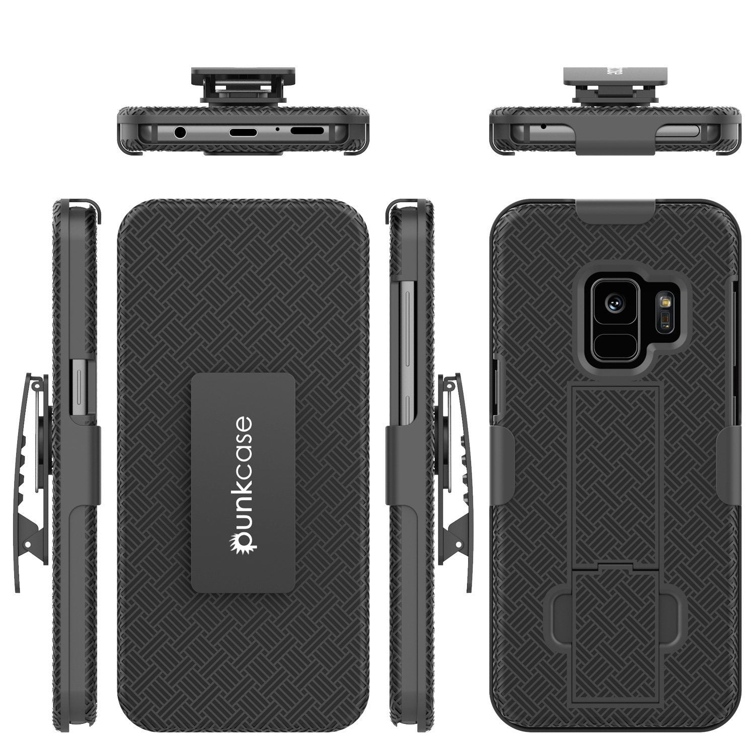 Punkcase Galaxy S9 Case With Screen Protector, Holster Belt Clip & Built-In Kickstand Non Slip Dual Layer Hybrid TPU Full Body Protection [Thin Fit] for Samsung Galaxy S9 Edge [Black]
