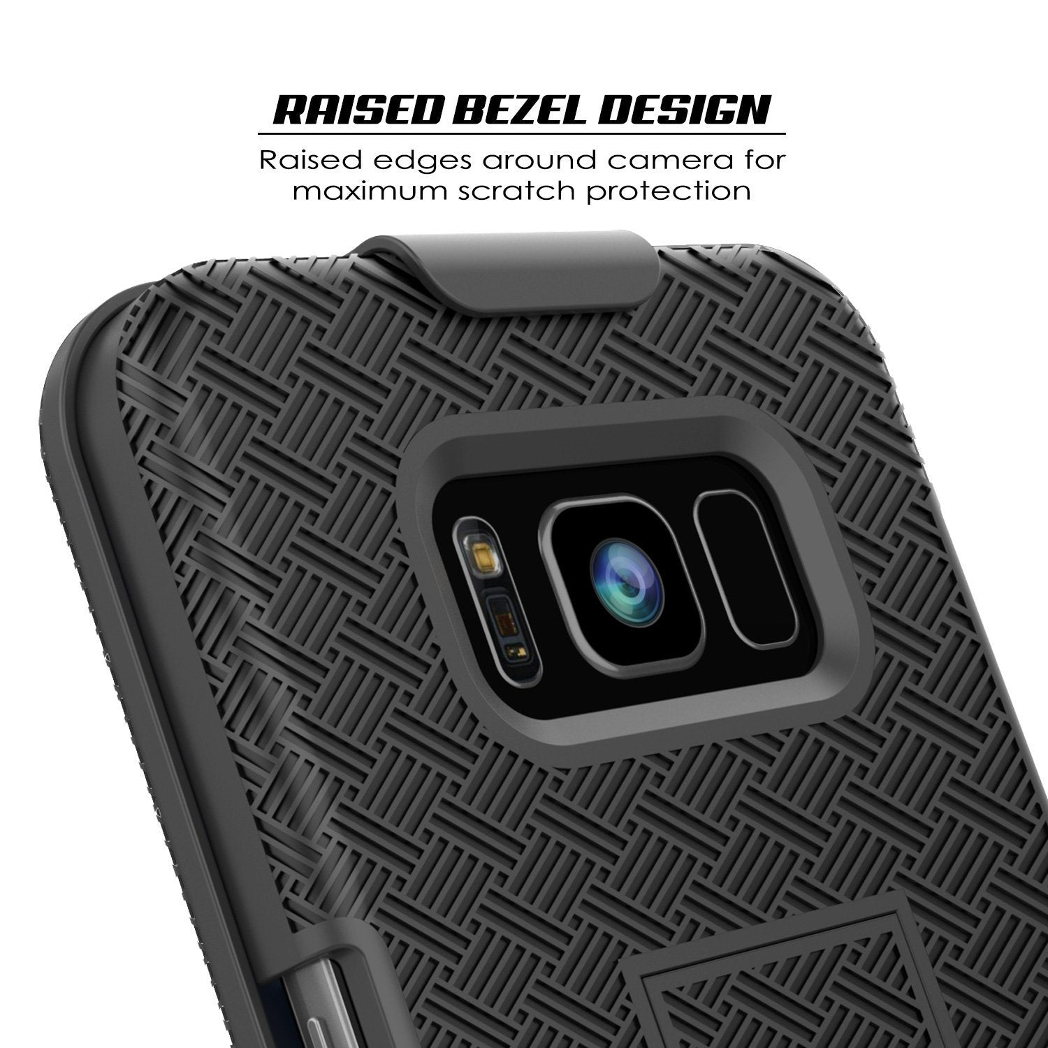 Punkcase Galaxy S8 Case, With PunkShield Glass Screen Protector, Holster Belt Clip & Built-In Kickstand Non-Slip Dual Layer Hybrid TPU Full Body Protection for Samsung S8 Edge [Black]