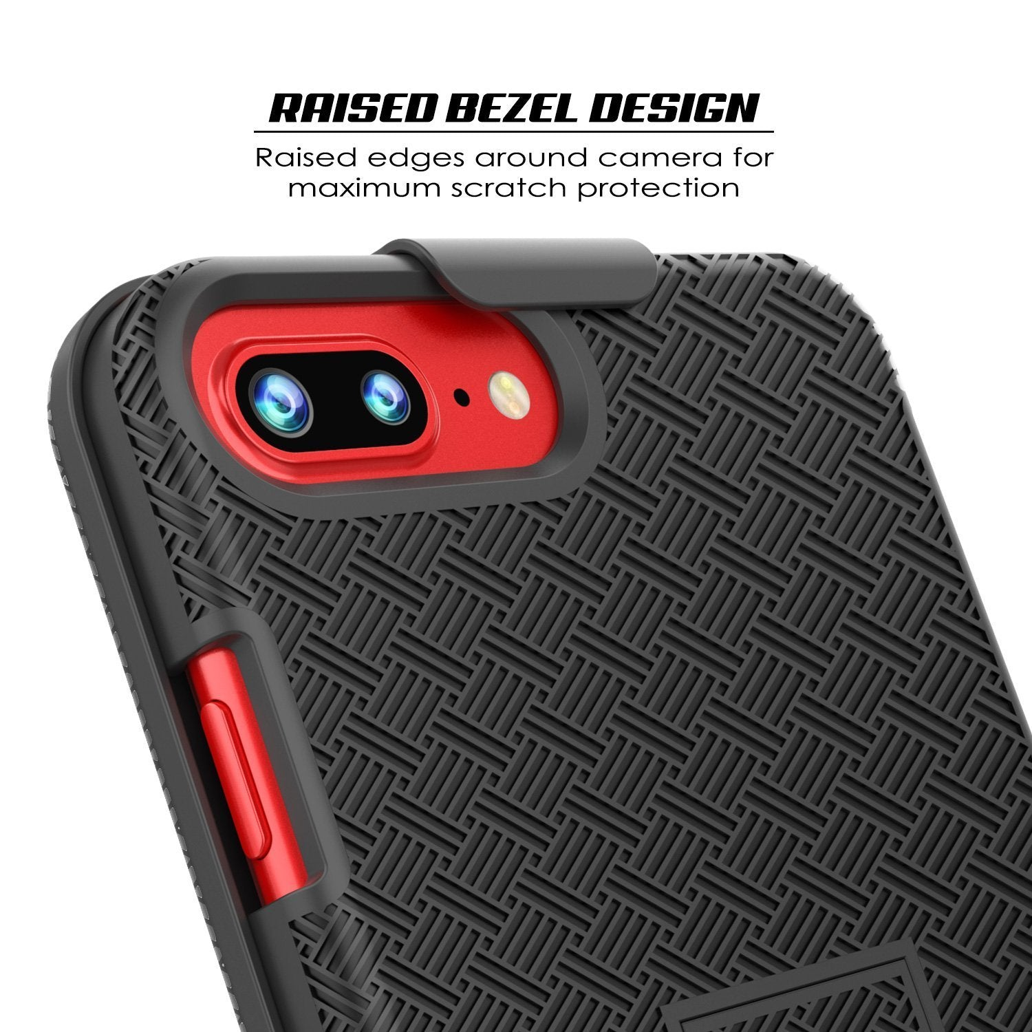 Punkcase iPhone 8 / 7 Plus Case With Tempered Glass Screen Protector, Holster Belt Clip & Built-In Kickstand Non Slip Dual Layer Hybrid TPU Full Body Protection [Thin Fit] for Apple iPhone 7+ & 8+ [Black]