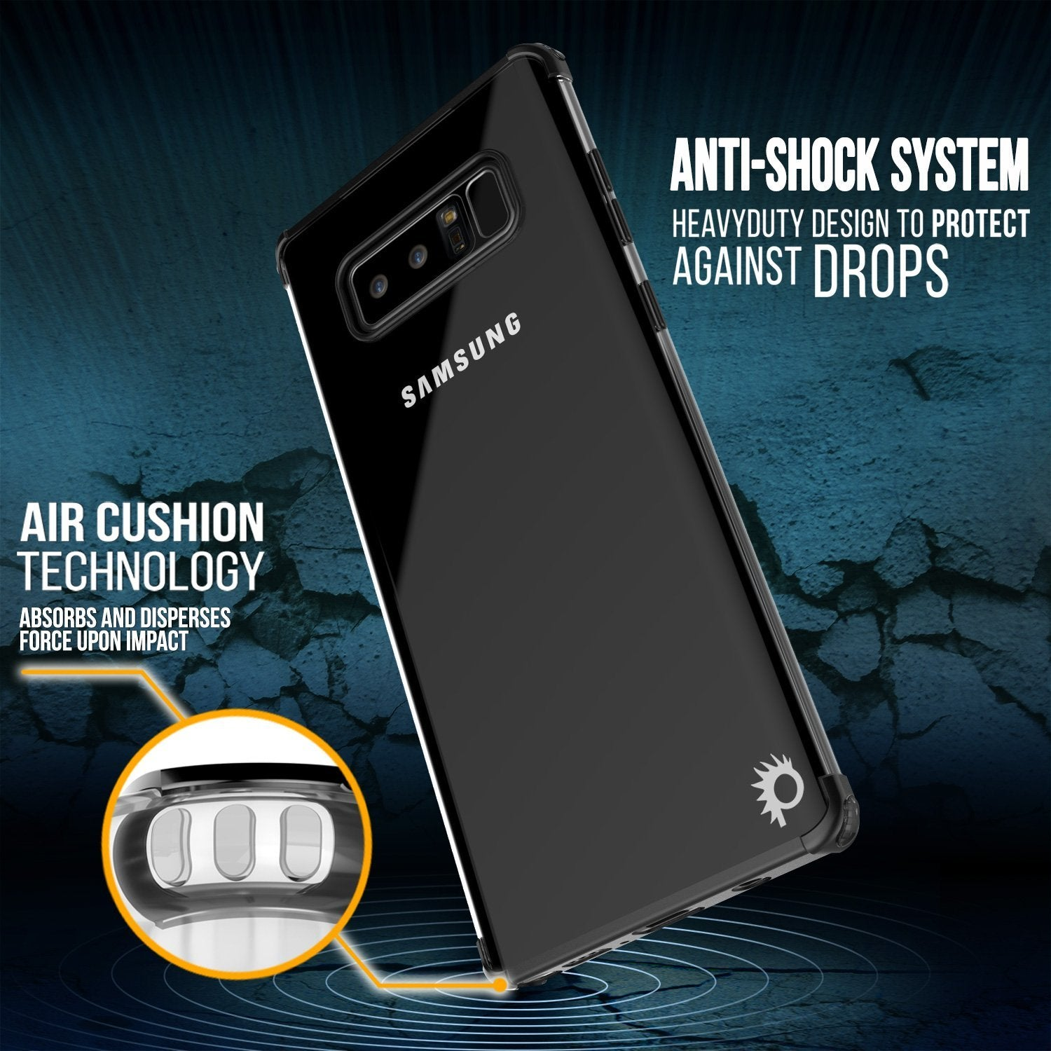 Note 8 Case, Punkcase [BLAZE SERIES] Protective Cover W/ PunkShield Screen Protector [Shockproof] [Slim Fit] for Samsung Galaxy Note 8 [Black]
