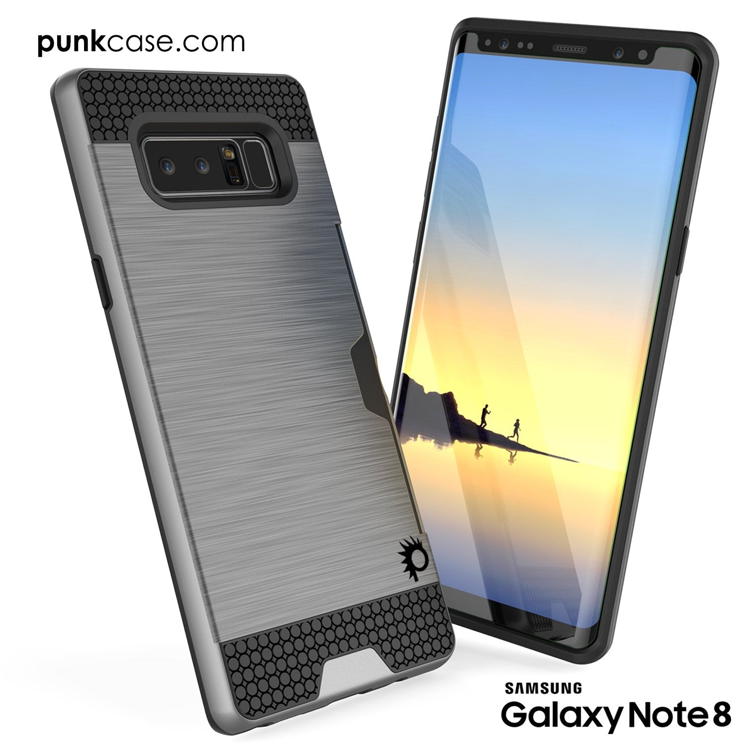 Galaxy Note 8 Case, PUNKcase [SLOT Series] [Slim Fit] Dual-Layer Armor Cover w/Integrated Anti-Shock System, Credit Card Slot [Grey]